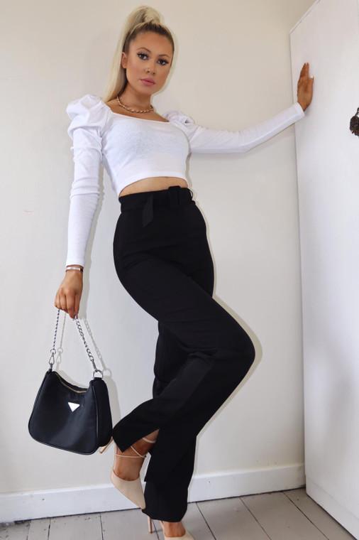 Black High Waist Belted Trouser With Split Hem
