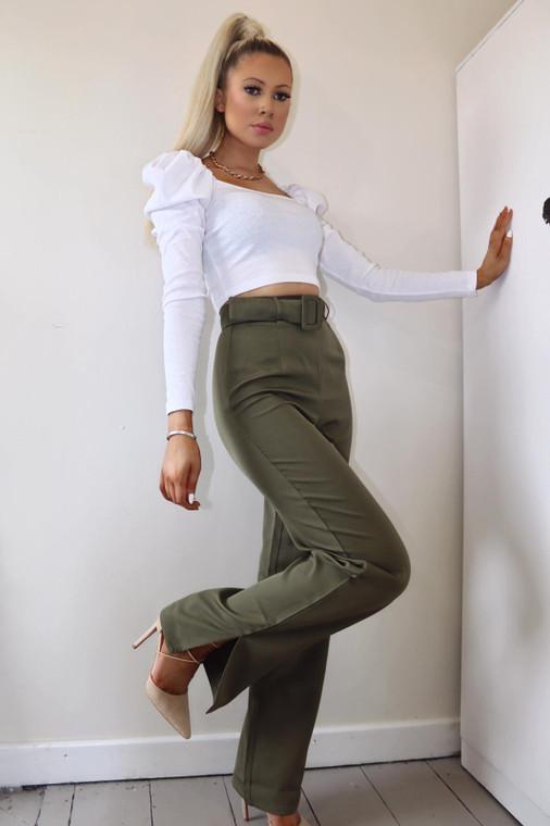 Khaki High Waist Belted Trouser With Split Hem