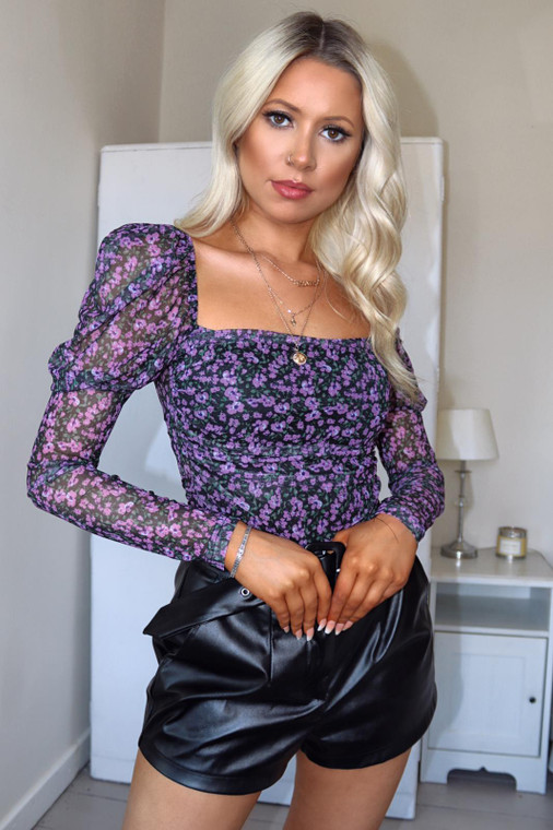 Black Purple Floral Square Neck Bodysuit