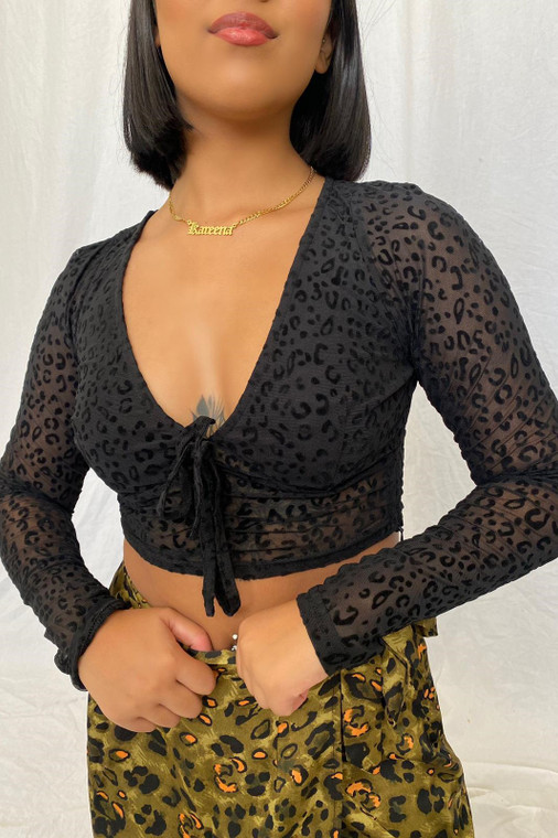 Black Leopard Longsleeve Mesh Crop Top