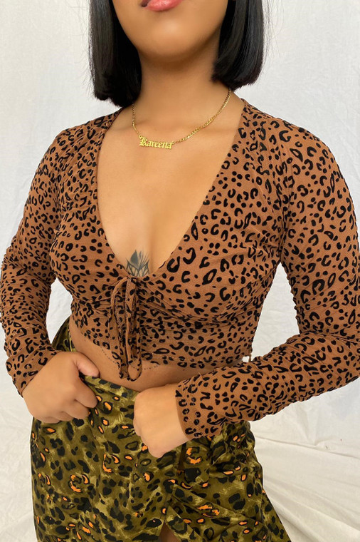 Brown Leopard Longsleeve Mesh Crop Top