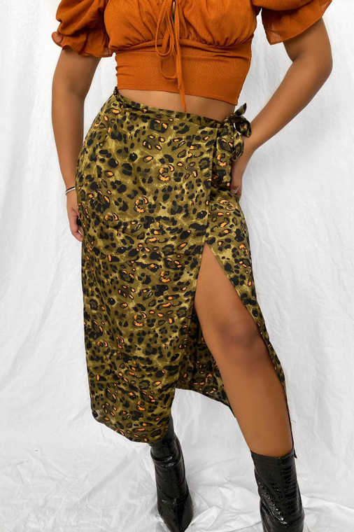 Green Leopard Satin Wrap Midi Skirt