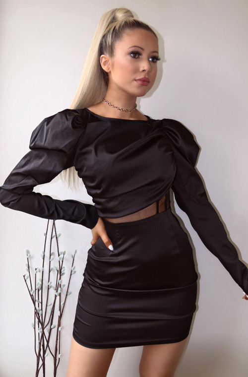Black Satin Longsleeve Mesh Panel Mini Dress
