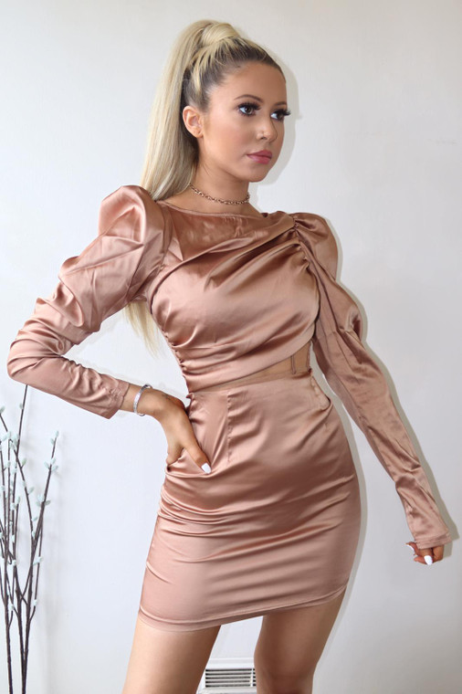 Tan Satin Longsleeve Mesh Panel Mini Dress