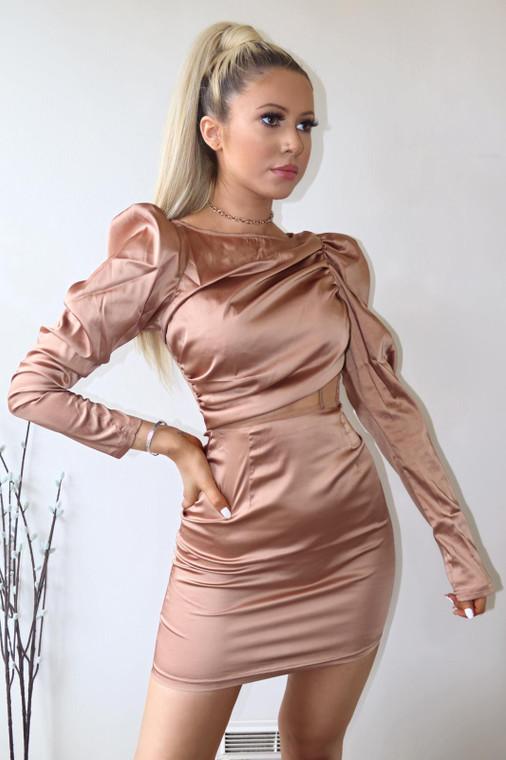Tan Satin Longsleeve Mesh Panel Mini Dress