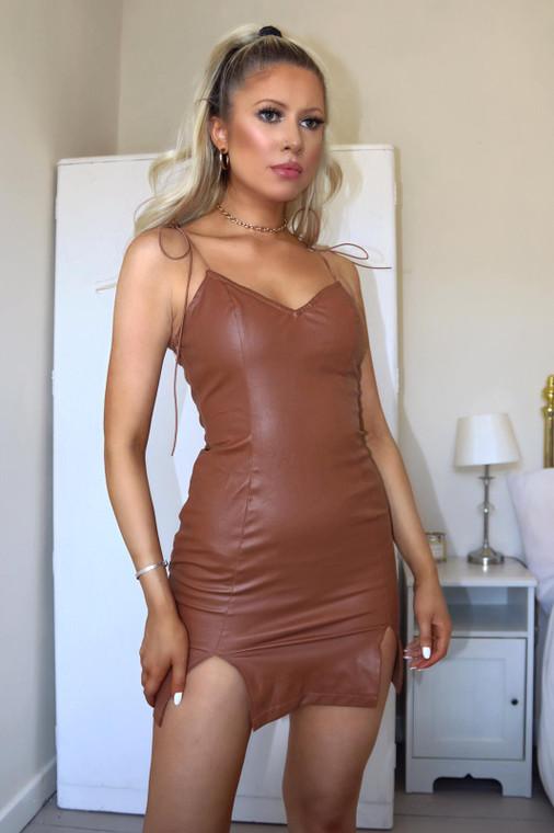 Brown Tie Shoulder PU Mini Dress