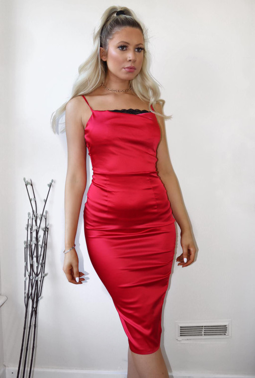 Red Stretch Satin Lace Insert Midi Dress