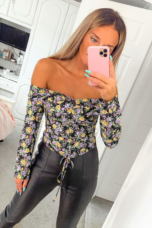 Black Floral Print Off Shoulder Crop Top