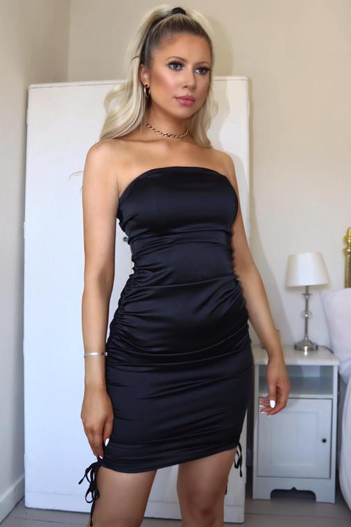 Black Strapless Stretch Satin Ruched Mini Dress