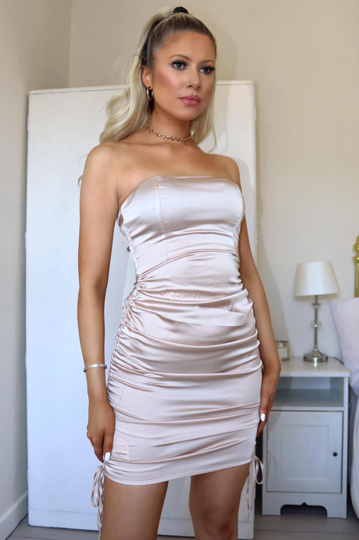 Nude Strapless Stretch Satin Ruched Mini Dress