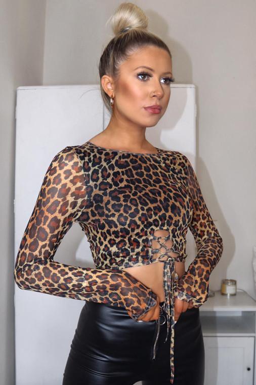 Leopard Print Lace-Up Front Detail Mesh Crop Top
