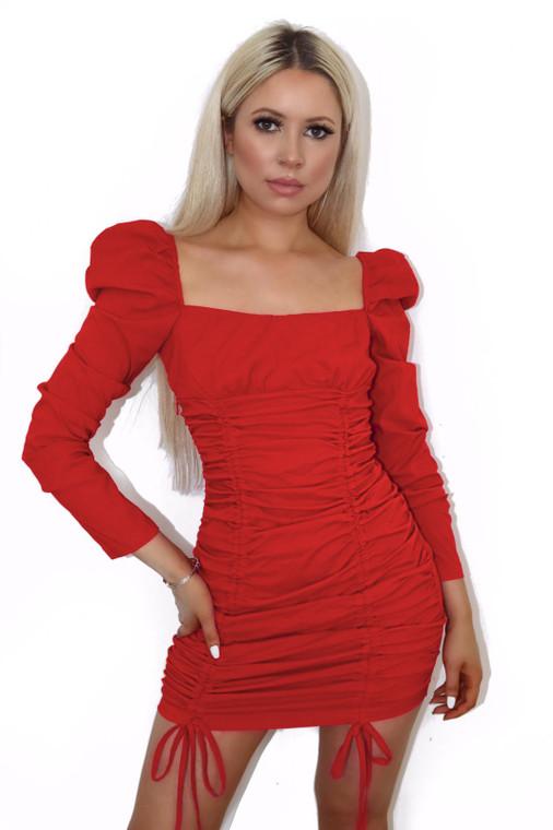 Red Longsleeve Ruched Mini Dress