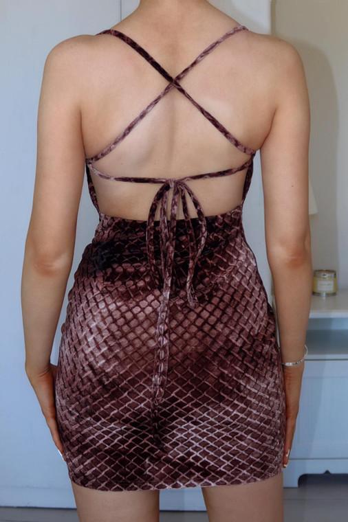 Chocolate Strappy Velvet Mini Dress