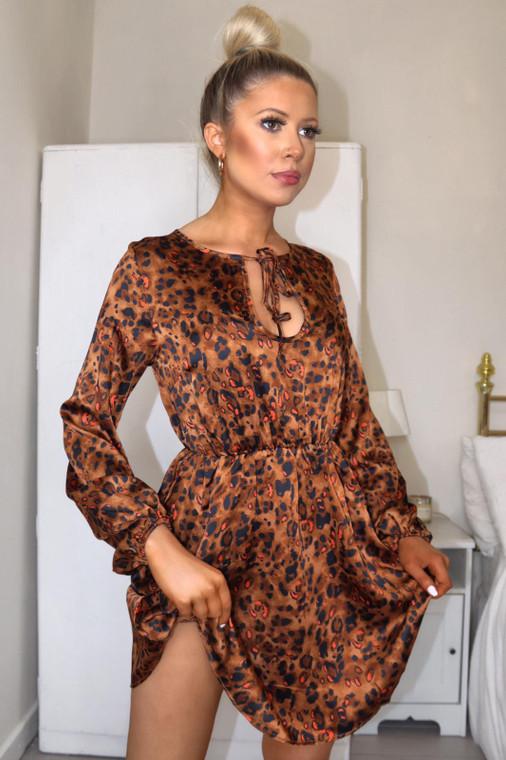 Brown Leopard Smock Mini Dress