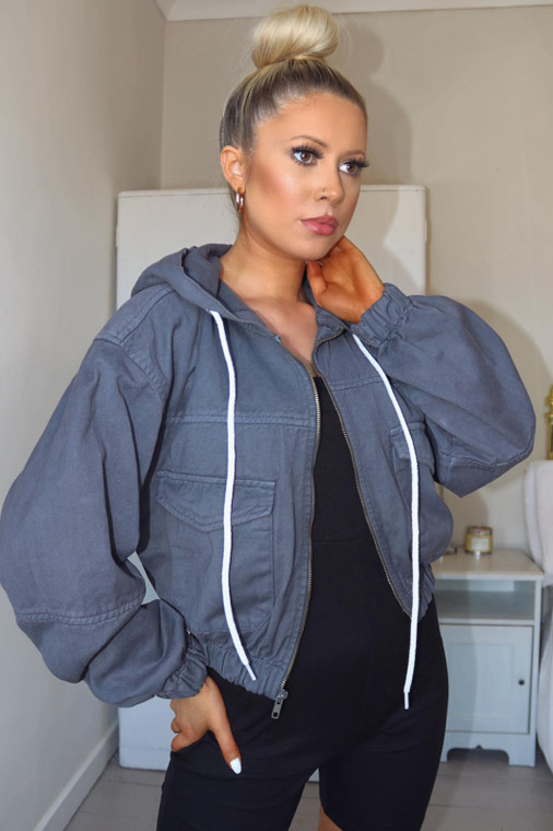 Grey Cropped Denim Hooded Jacket