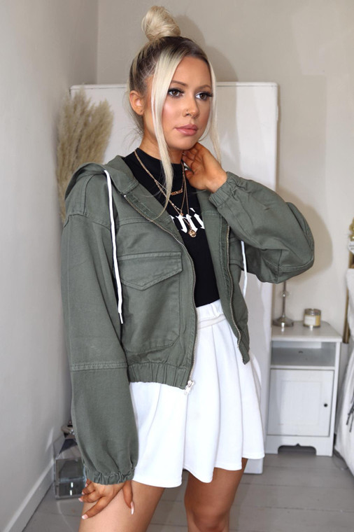 Khaki Denim Hooded Jacket