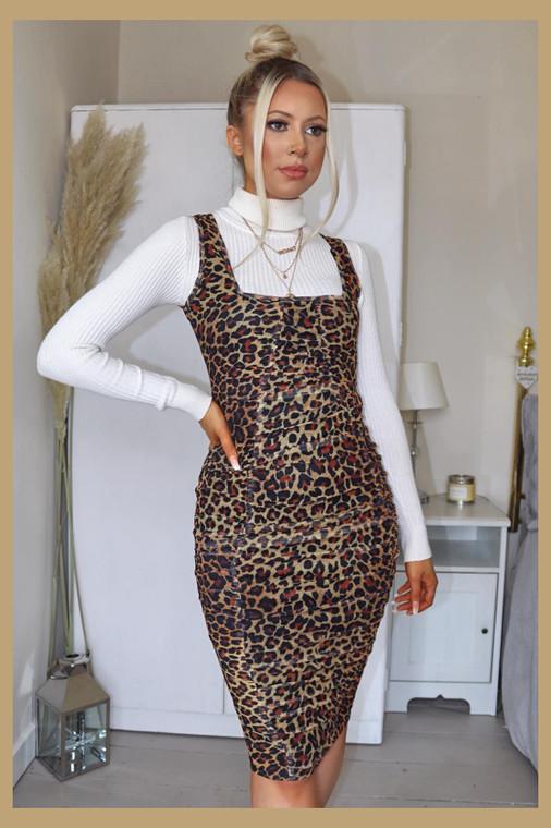Leopard Print Mesh Midi Dress