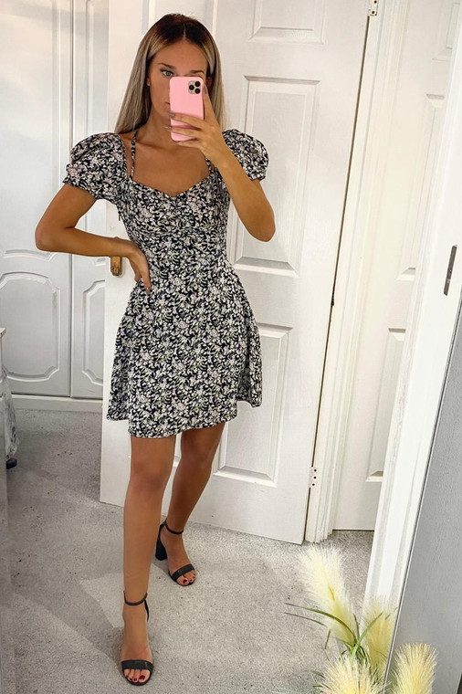 Black Floral Puff Sleeve and Halter Strap Mini Dress