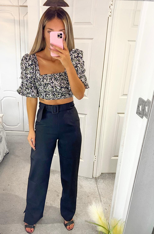 Black Floral Print Ruched Crop Top