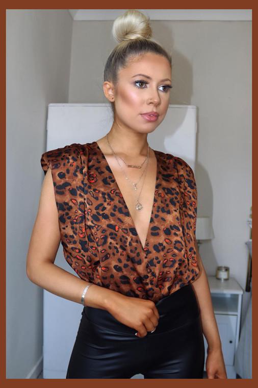 Brown Leopard Print Deep Plunge Padded Shoulder Bodysuit