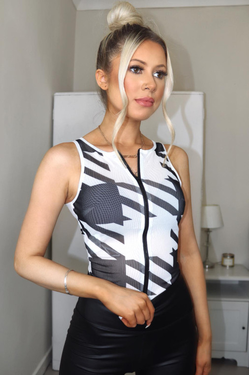 Black and White Geometric Print Zip Front Mesh Bodysuit