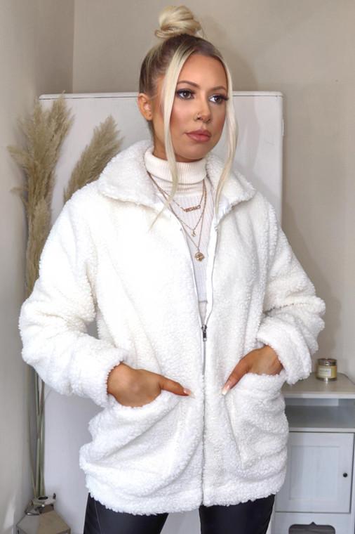Cream Zip Through Teddy Jacket
