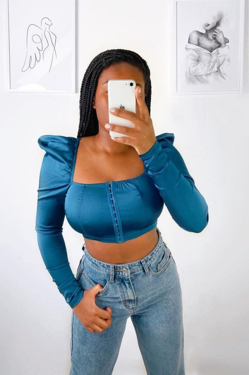 Teal Stretch Satin Hook-And-Eye Crop Top