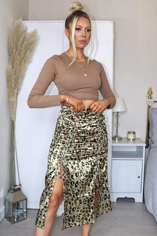 Khaki Leopard Print Ruched Midi Skirt