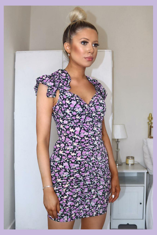 Black Floral Frill Shoulder Ruched Mini Dress