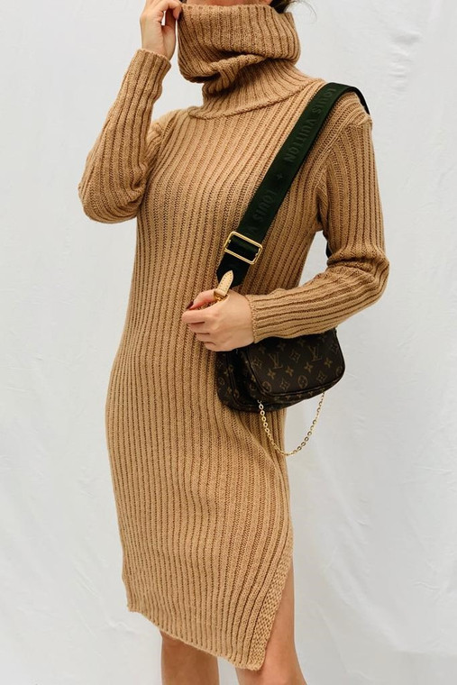 Tan Wide Rib Roll Neck Knit Dress
