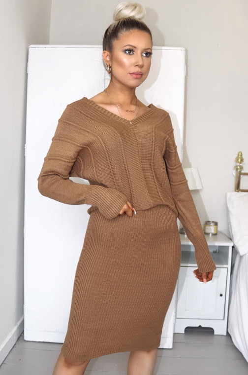 Tan Fisherman Knit Dress