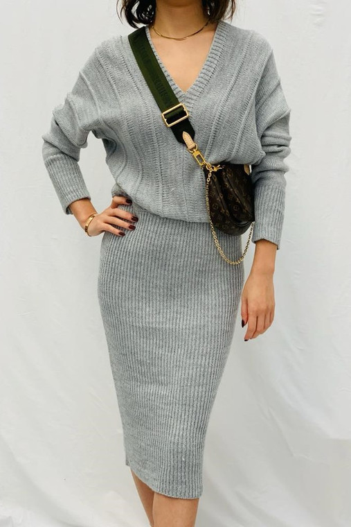 Grey Fisherman Knit Dress