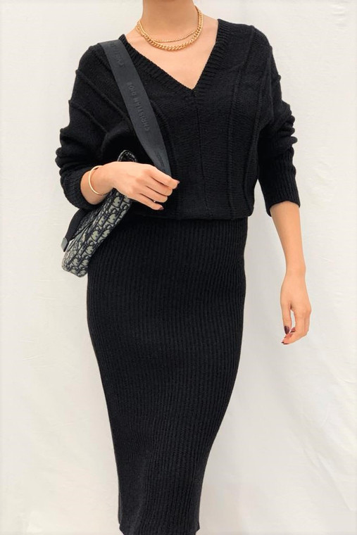 Black Fisherman Knit Dress