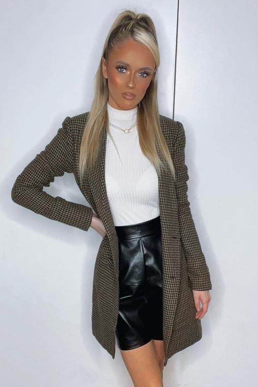Camel-Black Dogtooth Blazer Style Mini Dress