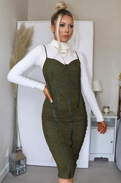 Khaki Ruched Mesh Midi Dress