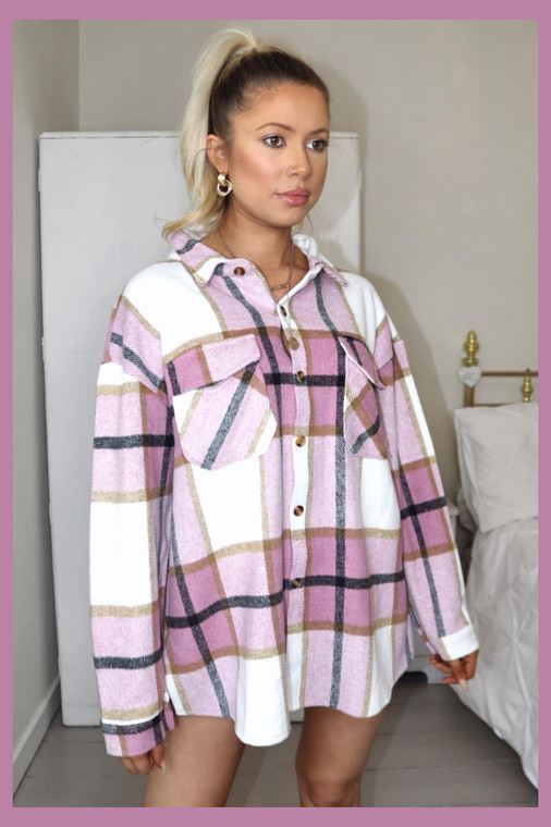 Pink Plaid Shacket