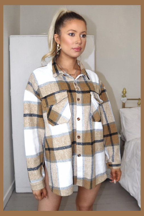 Tan Plaid Shacket