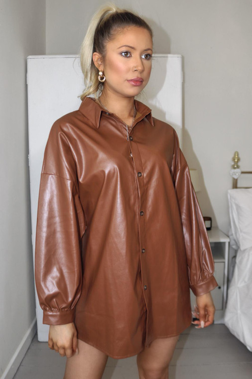 Chocolate Relaxed Fit PU Overshirt