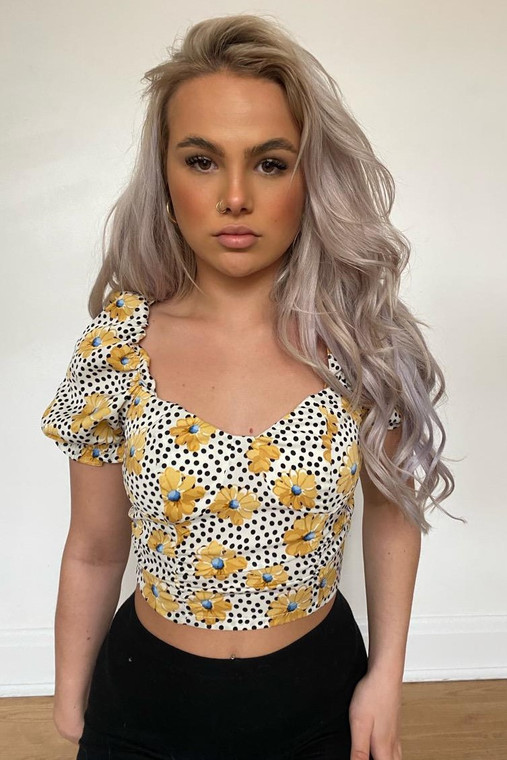 White Floral and Polka Dot Puff Sleeve Crop Top