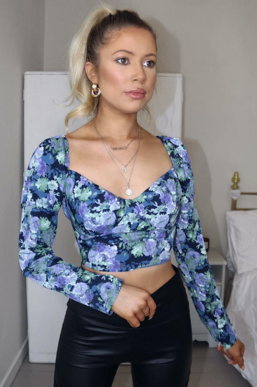 Blue and Navy Floral Sweetheart Long Sleeve Crop Top