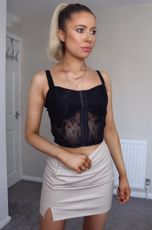 Black Hook and Eye Lace Strappy Top