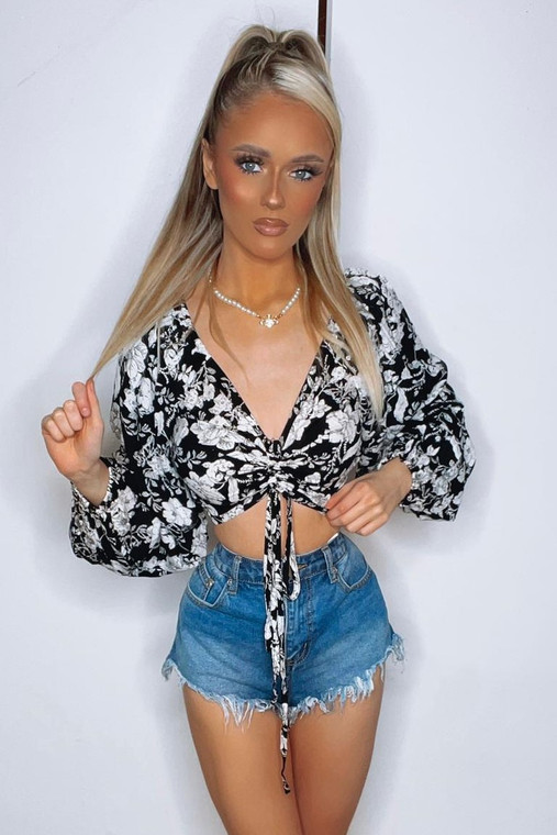 Black Floral Long-Sleeve Ruched Front Crop Top