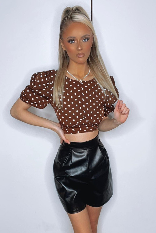 Chocolate Polka Dot Puff Sleeve Tie Back Top