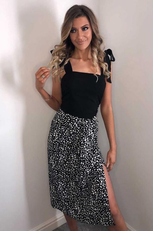 Black-Off White Print Draped Front Midi Skirt