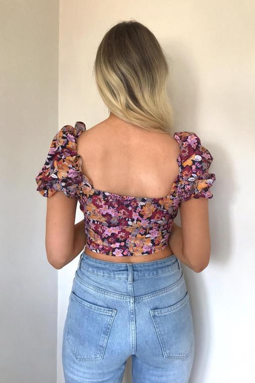 Black  Floral Puff Sleeve Crop Top