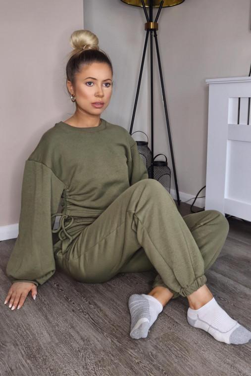 (SET) New Khaki Drawstring Detail Top and Bottom Loungewear Set