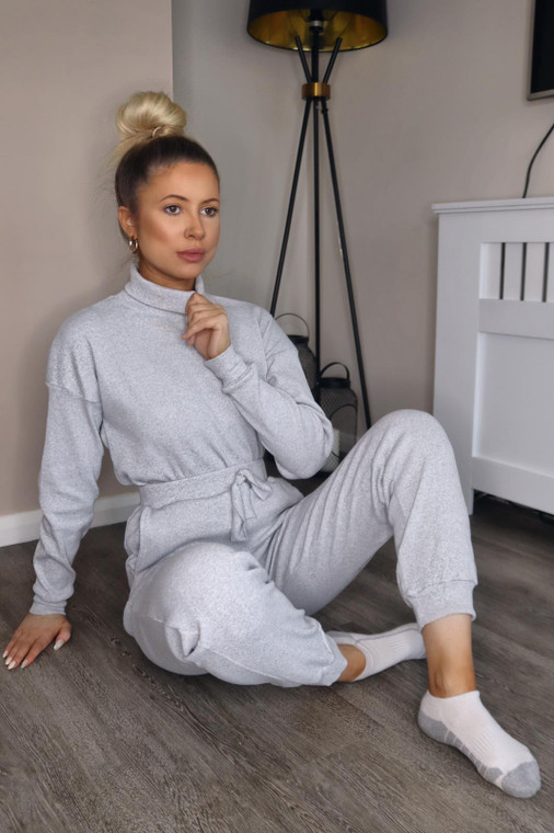 (SET) Grey Roll Neck Top and Jogger Ribbed Loungewear Set