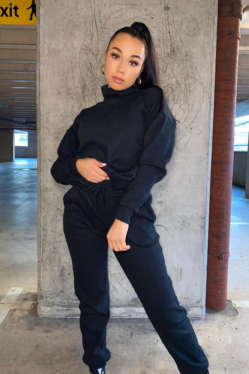 (SET) Black Roll Neck Top and Jogger Ribbed Loungewear Set