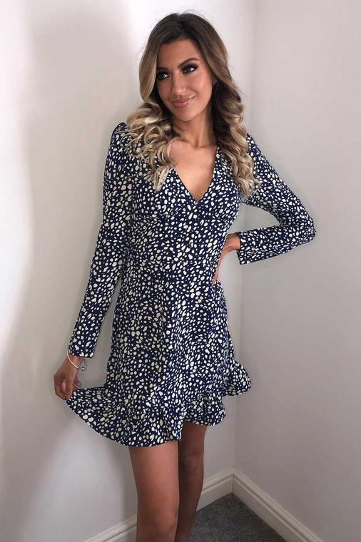 Navy-Off White Print Longsleeve Plunge Neckline Mini Dress