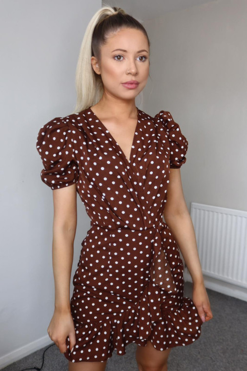 Chocolate Polka Dot Puff Sleeve Mini Dress